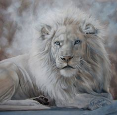 Beauty In The Beast - For Sale White Lion Original Oil, painting by artist Anne Zoutsos