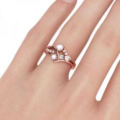 Jeulia Rose Gold Unique Round Cut Created White Sapphire Engagement Ring