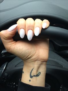 White almond shaped nails