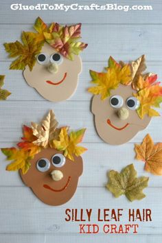 Silly Leaf Hair - Kid Craft (best fall crafts for kids) Kids Crafts, Leaf Crafts, Daycare Crafts, Fall Crafts For Kids, Toddler Crafts, Preschool Crafts, Projects For Kids, Art For Kids, Harvest Crafts For Kids
