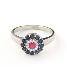 Antique Style Ruby Engagement Ring in 18k White Gold