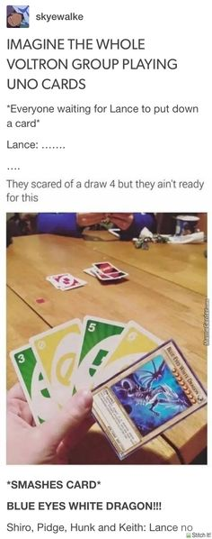 Voltron playing uno, lance throws down a yu gi oh card