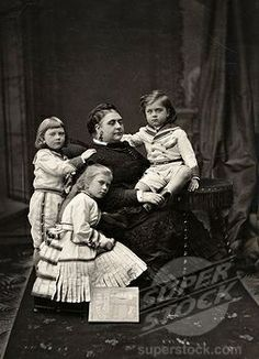 Stock Photo #4069-6061, Duchess of TECK with children Mary, 1867-1953, (later wife of George V, 1865-1936, King of England), Adolphus and Francis of Teck, 19th century photograph