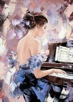 Musik in der Malerei - Alexander Gunin - Geiger - My CMS Graffiti Kunst, Piano Art, Woman Painting, Belle Photo, Figurative Art, Love Art, Female Art, Amazing Art, Watercolor Art