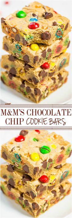 M&M'S Chocolate Chip Cookie Bars - Soft buttery bars loaded with M&M'S and chocolate chips are a guaranteed hit! Fast, easy, foolproof, no mixer recipe that's so much simpler than making cookies! (easy chocolate chip cookies no mixer) Making Cookies, How To Make Cookies, Food To Make, Chocolate Chip Cookie Bars, Chocolate Chips, Chocolate Muffins, Chocolate Chocolate, Chocolate Pudding, Baking Recipes