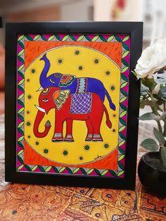 Art Drawings Beautiful, Art Drawings For Kids, Art Drawings Sketches Simple, Kerala Mural Painting, Indian Art Paintings, Madhubani Art, Madhubani Painting, Simple Canvas Paintings, Diy Canvas Art