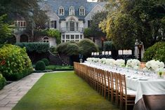 Stunning. For a dinner Rollins hosted in honor of Oscar de la Renta that benefited Children's Healthcare of Atlanta, the hostess covered a long dining table with burlap and linen and topped it with simple arrangements of dahlias and wheatgrass. Fruitwood Chiavari chairs complemented the garden setting.
