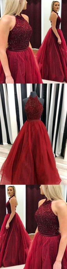 A-Line Halter Sweep Train Backless Dark Red Tulle Prom Dress with Beading M0798#prom #promdress #promdresses #longpromdress #promgowns #promgown #2018style #newfashion #newstyles #2018newprom#eveninggowns#halterpromdress#darkred#backless#tulle#beading