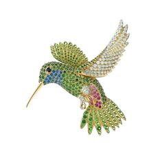 Jean Schlumberger for Tiffany Hummingbird brooch with coloured gemstones and diamonds