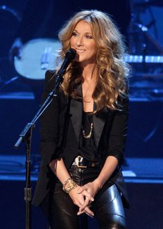 Celine Dion- Love her hair and the whole outfit! Amazing!!! Classy sexy cool!