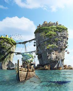 "More Arg Cove scenery. The ""Floating Isles"" Fantasy City, Fantasy Island, Fantasy Places, Fantasy World, Fantasy Concept Art, Fantasy Artwork, Environment Concept Art, Environment Design, Fantasy Art Landscapes"