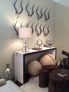 Arizona Design Center Spring Market 2012-Handsome Shagreen console table and I love those horns on the wall too! All in the Century Showroom.