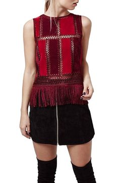 Topshop Fringe Sleeveless Faux Suede Top available at #Nordstrom