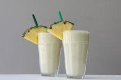 Pina Colada Protein Smoothies are two dairy free, vegan, protein smoothies. One for the kids, or adults, and an adult Vega One Version with an optional green juice shot. Smoothie Drinks, Healthy Smoothies, Smoothie Recipes, Frozen Pina Colada, Dried Strawberries, Raw Food Recipes, Oats Recipes, Healthy Recipes, Healthy Eats