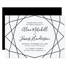 Black White Geometric Diamond Wedding Card - script gifts template templates diy customize personalize special