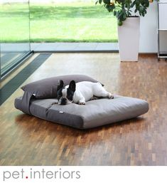 Dog bed with head pillow out of faux leather, high end quality