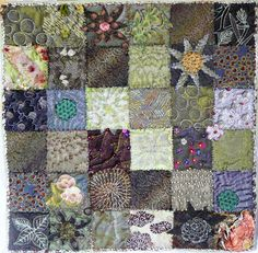 Caro Higgs (France):  quilting and embroidery sampler, Fifteen by Fifteen art quilt group