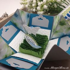 Stampin Up - Stempelherz - Verpackung - Explosion Box - Minialbum - Minibook - Geburtstagskarte - Butterflies - Stanzte Gewellter Anhänger -...