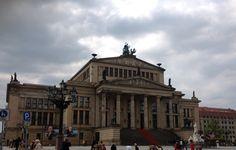 Architecture, old building, column, sculpture , Konzerthaus , plaza, Berlin Germany