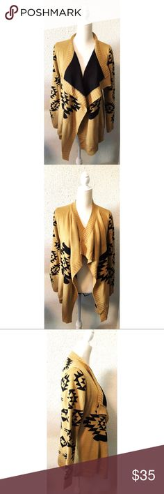West 36th - Tribal Print Cardigan BOHO - Size S/M Beautiful tribal print boho cardigan by West 36th. This sweater is soft & cozy and is a caramel & black color. It comes in a size S/M and is in excellent condition. Please contact me with any questions.🦄 West 36th Sweaters Cardigans