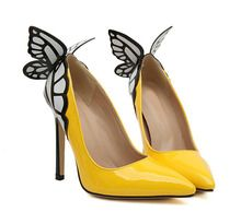 Yellow Point Toe With Butterfly High Heeled Pumps -SheIn(Sheinside)