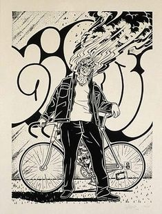 Whilst on the subject of Rebel let's have a quick look at the work of Mike Giant He is amazing, I love his work and his fonts are t. Bicycle Illustration, Tattoo Illustration, Wild Pictures, Mike Giant, Sketching Techniques, Comic Manga, American Graffiti, Chicano Art, Bicycle Art