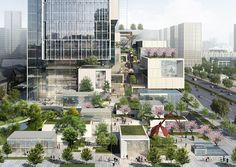 OCT XI'AN International Culture Center —New Dimensions for High Density Urban Mixed-use by EID Architecture Open Architecture, Architecture Visualization, Sustainable Architecture, Landscape Architecture, Landscape Design, Garden Design, Vertical City, Commercial Complex, Mix Use Building