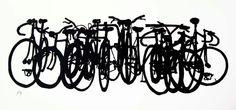 Bicycle+Art+Print++Bike+Stack+Midi+1313++Black+by+bicyclepaintings,+$40.00