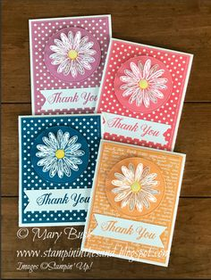 handmade thank you notecard set featuring Daisy Delight ... each one monochromatic ... daisy on a circle ... small print patterned paper background ... Stampin' Up!