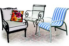 DIY PATIO FURNITURE REPAIR  Replacement Slings, Outdoor Cushions, Vinyl Strapping, Patio Furniture Parts, Lawn Chair Webbing. Online Installation Instructions.    www.ChairCarePatio.com  1-866-638-6416