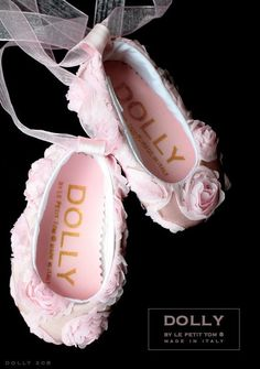 DOLLY by Le Petit Tom ® BABY BALLERINA'S 20B roses satin pink