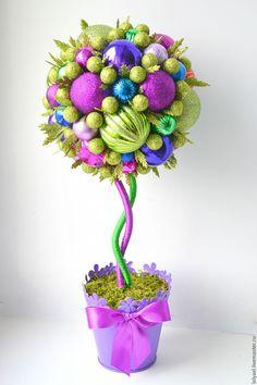 Купить Новогодний топиарий из елочных шаров - новогодний топиарий, топиарий на новый год, топиарий из игрушек