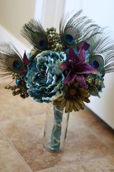 Terrific Teal Bridal Bouquet - Peacock Wedding Bouquet. $100.00, via Etsy.