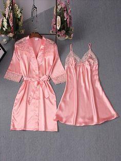 - Simple Sexy Lace Lace-Up Bowknot Night Dress and Robe - AdoreWe Cute Sleepwear, Sleepwear Women, Pajamas Women, Silk Sleepwear, Pajama Outfits, Dress Outfits, Fashion Outfits, Prom Dresses, Sexy Pyjamas