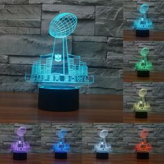 Super Bowl Sunday Nightlight Lamp 3D LED Night Light Acrylic 7 Colors Change touch sensor light Atmosphere Lamps dropsh IY803476