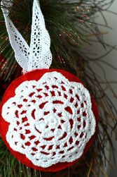 Doily Snowflake Ornament   AllFreeSewing.com