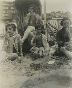 Margot - Mrs. Schneider (Otto's former secretary) - Anne and Edith eating ice cream on the beach in Zandvoort -1934, The Netherlands