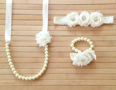 Custom pearl, ribbon and shabby chic flower necklace and bracelet set with matching headband, flower girl gift, bridal set, bridesmaid gift on Etsy, $28.00