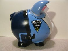 State Patrol piggy banks-personalized/made-to-order Texas State Trooper, Wooden Piggy Bank, Police Baby, Pottery Painting, Painted Pottery, Pig Showing, Pig Bank, Pottery Shop, Paint Your Own Pottery