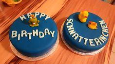Fondant Motivtorten happy Birthday Schnatterinchen - Frosch & Ente 🦆🐸