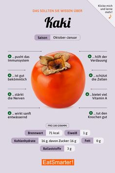 Healthy recipes and easy recipes- Gesunde Rezepte und leichte Rezepte You should know this about the persimmons. Easy Healthy Recipes, Vegetarian Recipes, Easy Meals, Vegetarian Sweets, Jugo Natural, Clean Eating Soup, Eating Healthy, Recipe For 2, Nutrition