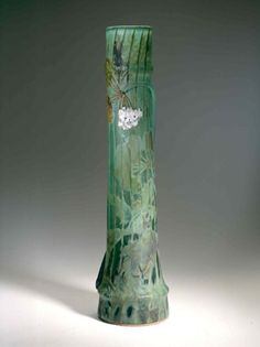 Emile Gallé, Nancy, (1846-1904), Blown, Internal Inclusions, Marquetry Inlays, Applied and Engraved Glass Vase.