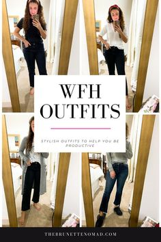 I am sharing 4 outfits you can wear when you work from home that are stylish but comfortable #outfitideas #workutfitidea #workchic #workfromhome