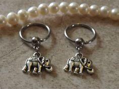 Elephant Captive Hoop Nipple Ring 14ga Belly/ Navel Earring Body Jewelry