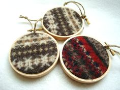 Rustic Christmas Hoop Ornaments / Homespun Christmas / Felted Sweater Wool By…