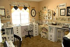 Vintage Craft Room   I need a craft room like this...so pretty!