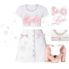 ♡ Bow Obsessed White Denim Look ♡ by kaylalovesowls on Polyvore featuring Miss Selfridge, Boutique Moschino, Chanel and Forever 21