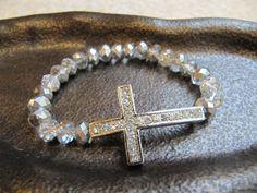 Crystal Side Cross Bracelet with Silver Crystals by JillEliz123, $9.99