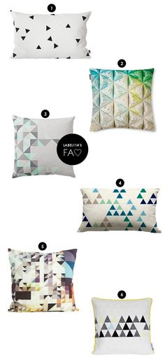Triangle Cushions. By Ferm Living, Snurk, Bloomingville, LevaLeva, House Doctor, LileSadi