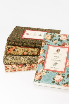 floral covers of Jane Austin novels, reissued by penguin